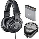 Audio-Technica ATH-M30x Professional Headphones Amp Bundle Includes, Slappa Hard Body PRO Full Sized Headphone Black Case & FiiO A1 Portable Headphone Amplifier