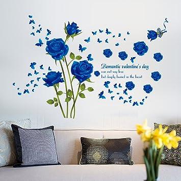 Wallpark Romantisch Blau Rose Blumen Schmetterling Abnehmbare Wandsticker  Wandtattoo, Wohnzimmer Schlafzimmer Haus Dekoration Klebstoff DIY