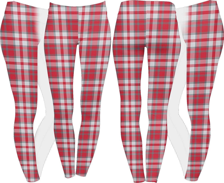 Red /& Gray Plaid Ladies Leggings Personalized
