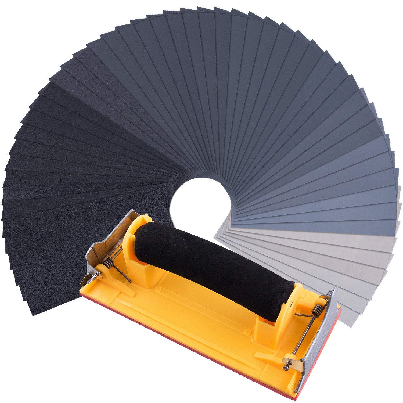 SIQUK 48 Pi/èces Assortiment de Papier de Verre Sec /à lEau Grain 120 /à 7000 Feuilles Abrasives avec Ponceuse /à Bloc de Pon/çage 9 x 3,6 Pouces Papier de Verre