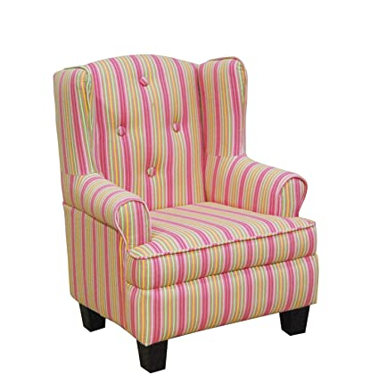 Toddler Pink Stripe Wingback Chair
