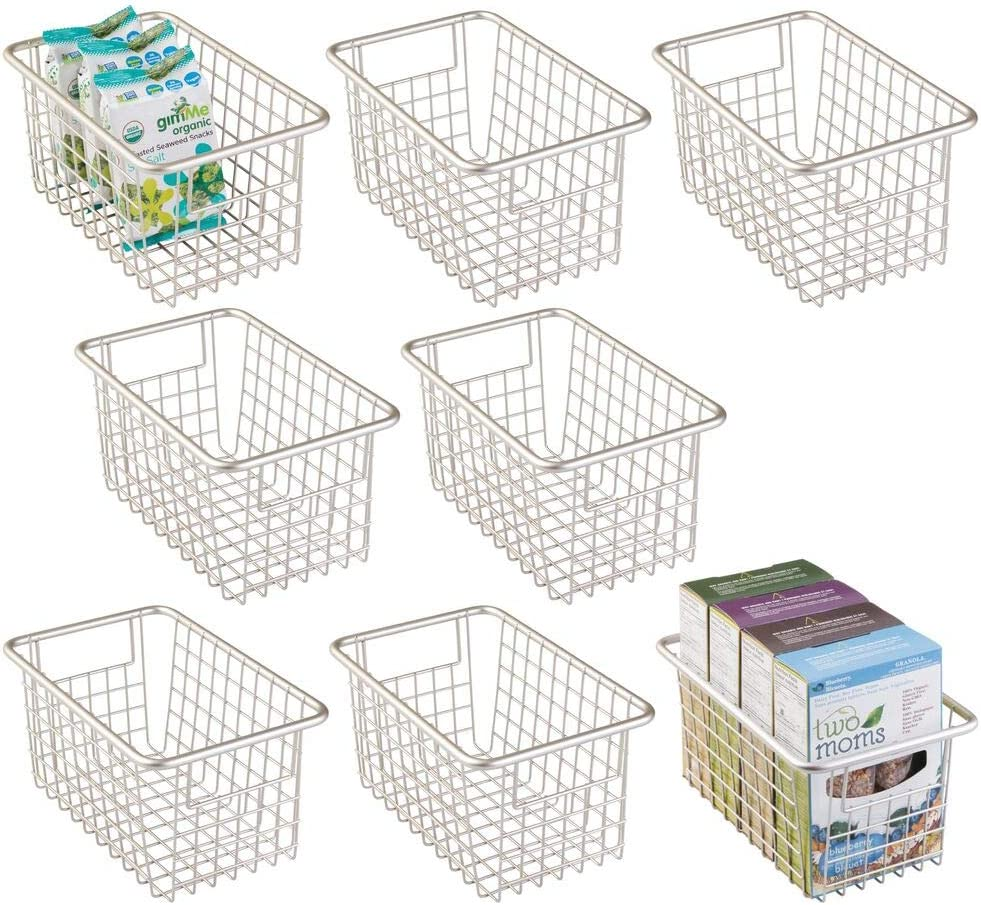 mDesign Modern Farmhouse Deep Metal Wire Storage Organizer Bin Basket with Handles for Kitchen Cabinets, Pantry, Closets, Bedrooms, Bathrooms, Laundry Rooms, Garages - 8 Pack - PC Satin