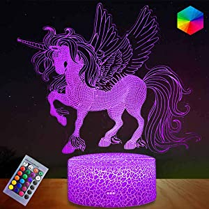 3D Unicorn Night Light for Kids, Dimmable Unicorn Gifts Lamp with Remote & Smart Touch 7 Colors + 16 Colors Changing LED Unicorn Light, Best Unicorn for Girls Bedroom Decor Birthday Christmas Gifts