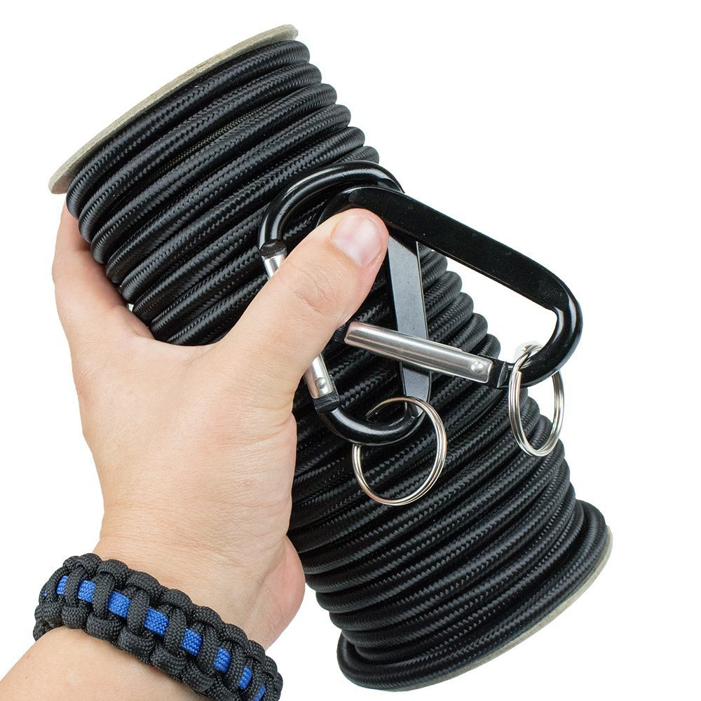 Shock Cord - Marine Grade, with 2 Carabiners  1/8'', 3/16'', 1/4'' on 25/50/100 ft. Spools.  6 Colors, Made in USA.  Also called bungee cord, stretch cord & elastic cord Black, 1/4 x 25 Feet