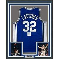 $424 » Framed Autographed/Signed Christian Laettner 33x42 Duke Blue College Basketball Jersey PSA/DNA COA