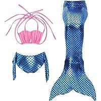 Cckuu New Swimming Fancy Costume Kids Girl Mermaid Tail Bikini 3PCS Set Swimwear