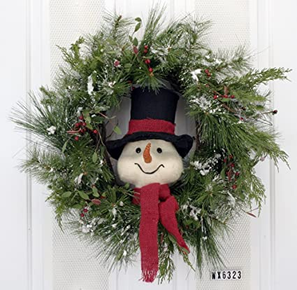 mr snowmans wonderful wreath front door christmas holiday indoor home decor - Amazon Christmas Home Decor