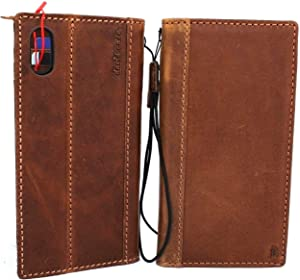 Genuine Leather Case for iPhone Xs max Book Wallet Handmade Cover Luxury Cards Slots Rubber Holder Closure tan Vintage Classic DavisCase pro xsmax