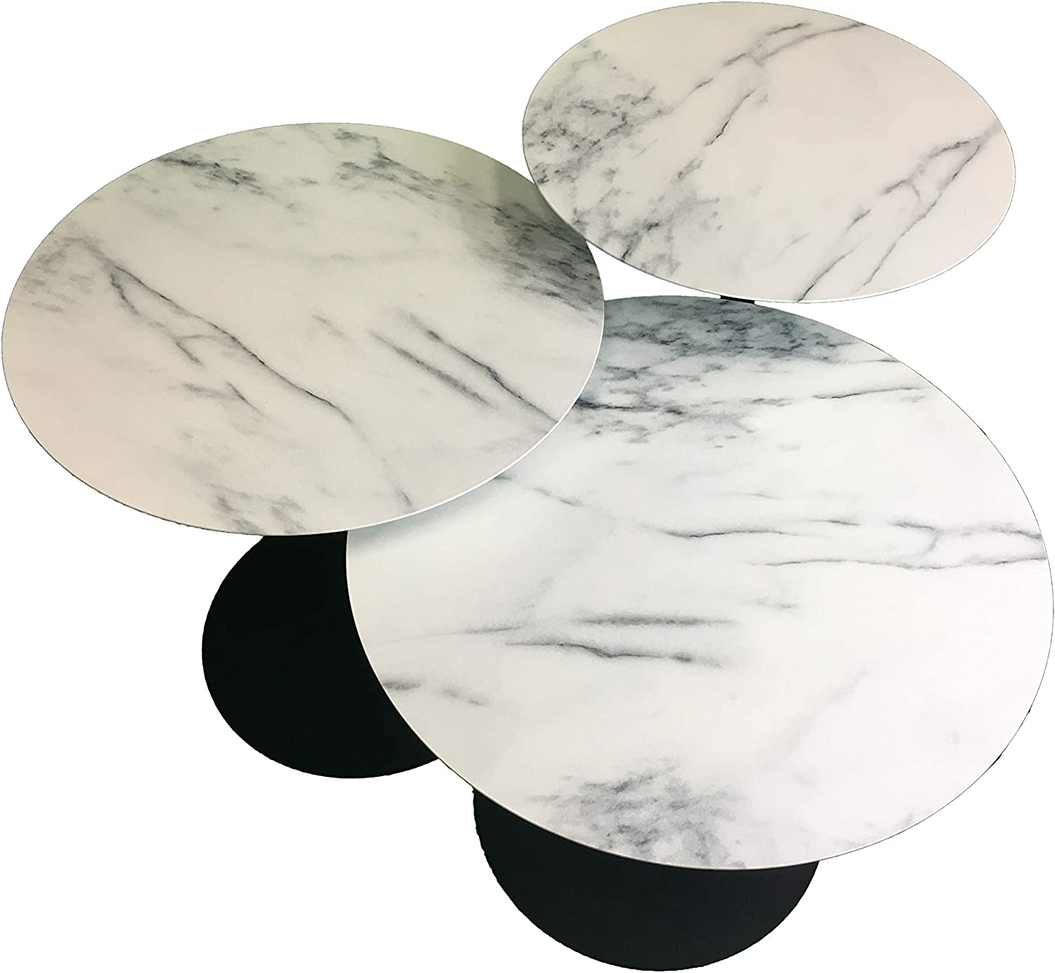 """Leisure Space 3-pcs Round Metal Coffee Table Set with Marble Finish Table Top and Black Powder Coating Finish Frame(16""""/18""""/20"""")"""