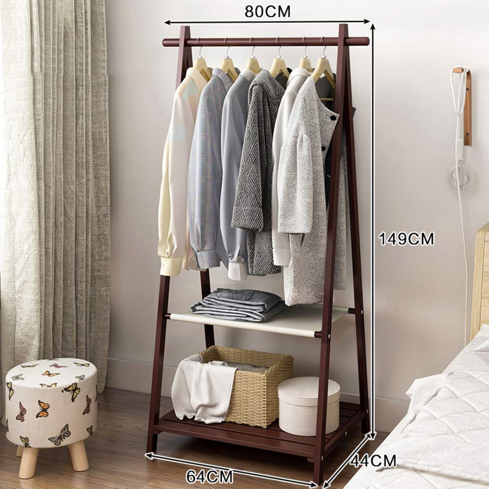 E 64x44x149cm(25x17x59inch) Bamboo Clothes Rack,Triangle Wooden Free Standing Coat Rack,Tree Stand Holder for entryway and Bed Room Patented Design-D 64x44x149cm(25x17x59inch)