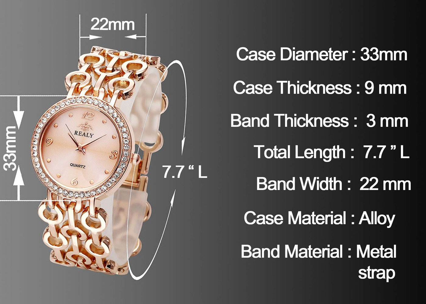 Top Plaza Women Elegant Fashion Bracelet Analog Quartz Watch Rose Gold Tone Rhinestone Case Big Face Large Dial Wide Band Waterproof Cuff Watch by Top Plaza (Image #3)