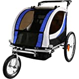 Clevr 2-In-1 Collapsible 2-Seater Baby Stroller Jogger/Bicycle Trailer W Pivot Wheel