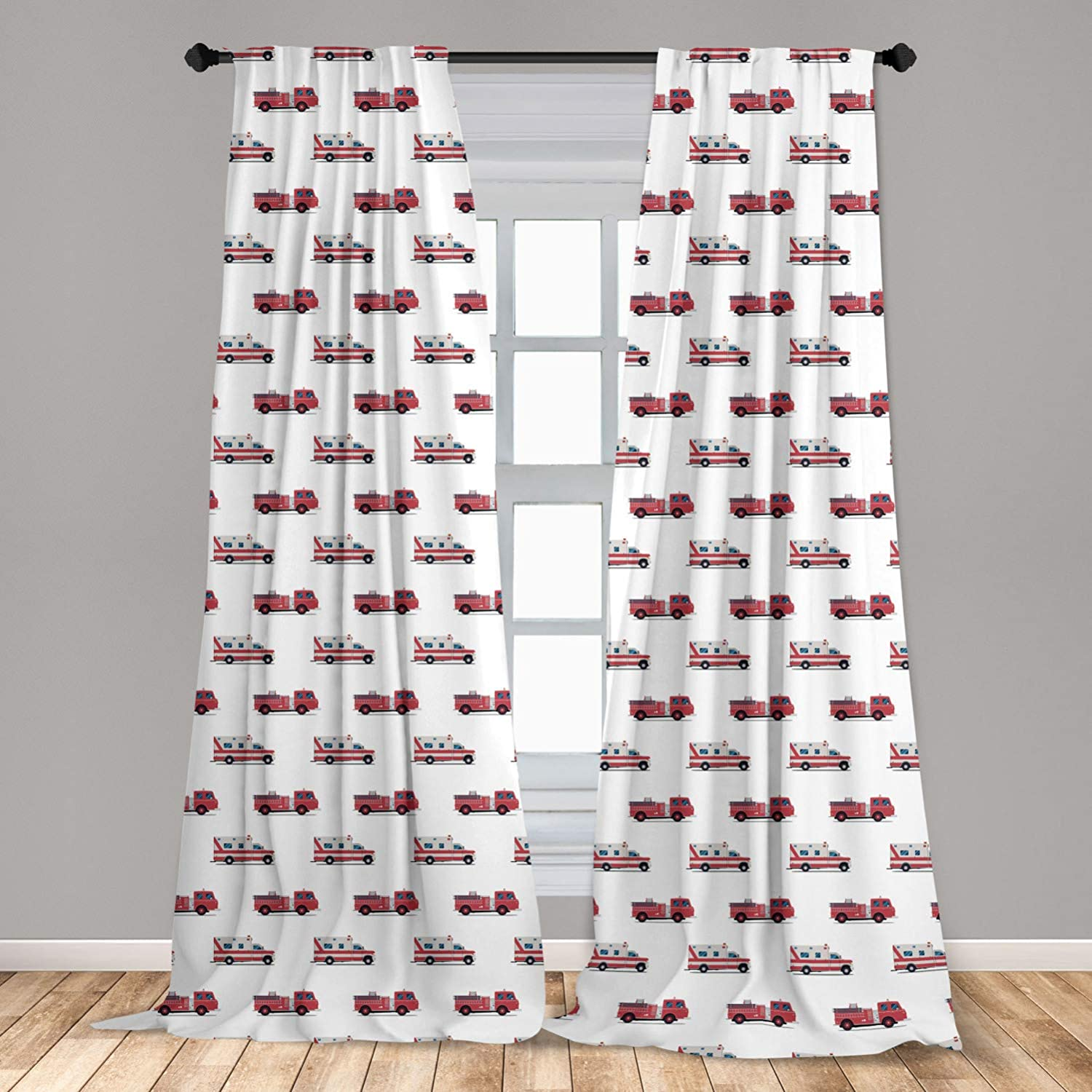 """Lunarable Fire Truck Curtains, Pattern of The Fire Engines and Ambulances Security Safety and Rescue Vehicles, Window Treatments 2 Panel Set for Living Room Bedroom Decor, 56"""" x 63"""", Ruby Pink"""