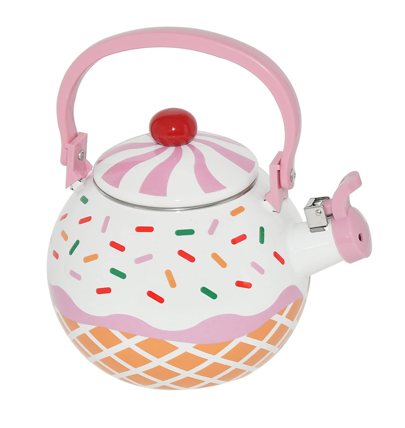 HOME-X Strawberry Cupcake Whistling Tea Kettle, Cute Teapot, Kitchen Accessories