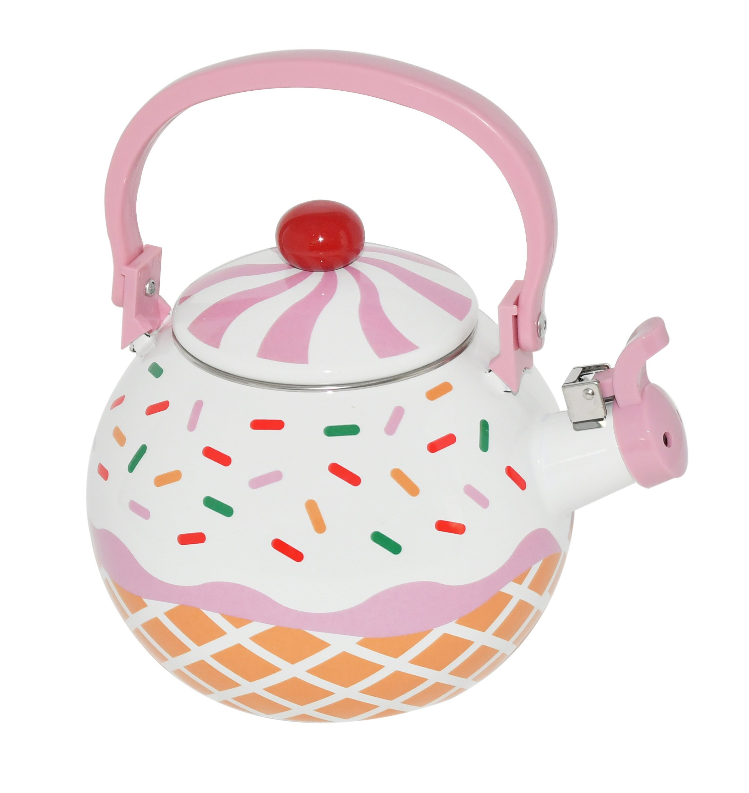 Home-X – Strawberry Cupcake Tea Kettle, 1.7 Quart Whistling Tea Kettle for Gas Top or Electric Stoves, The Perfect Addition to Any Kitchen