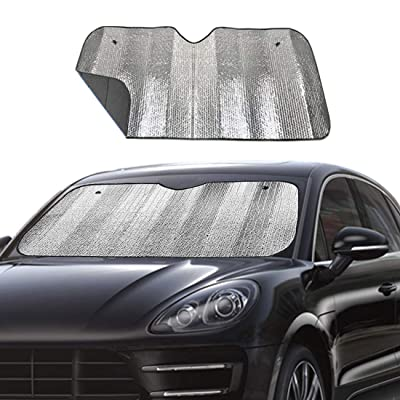 "Big Ant Windshield Sun Shade UV Rays Sun Visor Shade,Auto Front Windshield Sunshade Car Folded Sun Shield Shade,Keeps Vehicle Cool - Black (55"" x 27.5""): Automotive"