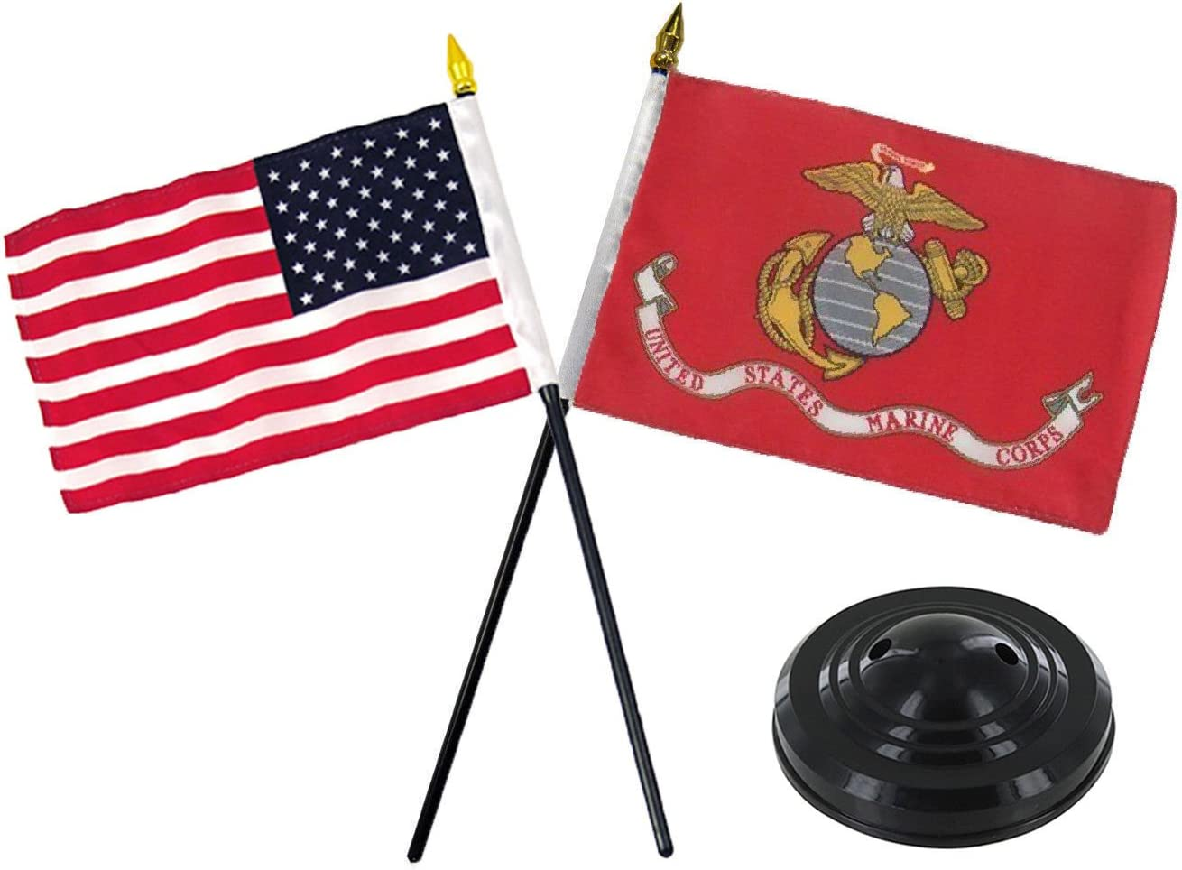 "AWS 4""x6"" Miniature U.S. Marine Corps and USA American Flag Desk Set with Black Base (Imported)"