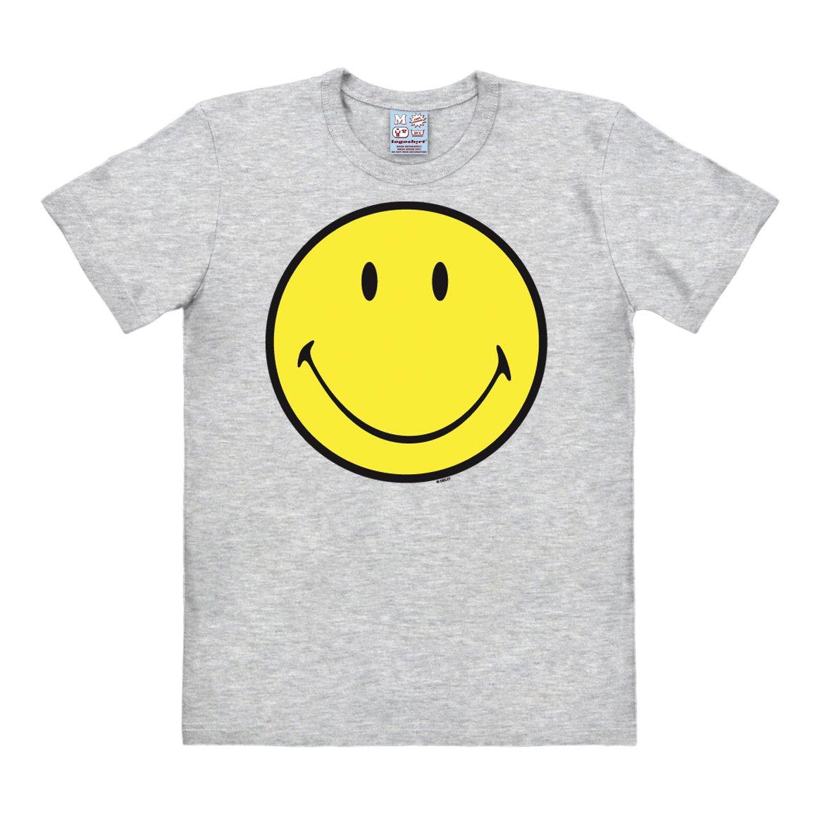 Logoshirt Original Cara Smiley - Emoticon - Feliz Camiseta Hombre - Gris Vigoré - Diseño Original con Licencia: Amazon.es: Ropa y accesorios