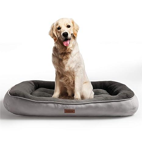 Bedsure Cama para Perros Grandes L - Colchon Perro Lavable de Felpa Muy Suave - Sofá de Perro 92x69x18cm,Gris