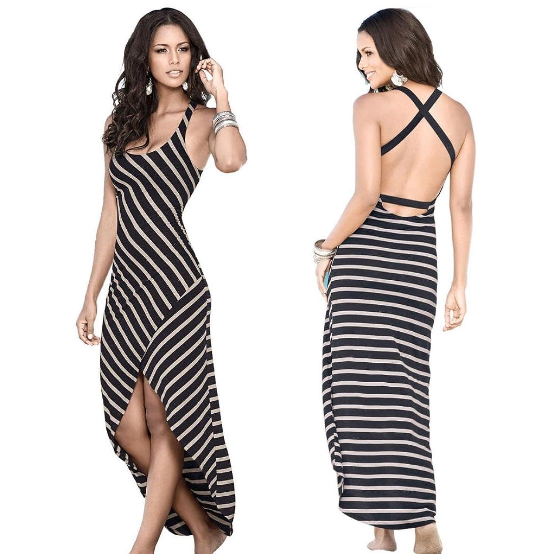 Frauen Kleid,Xinan Women's Summer Striped Boho Long Evening Party Dress Beach Dresses Sundress