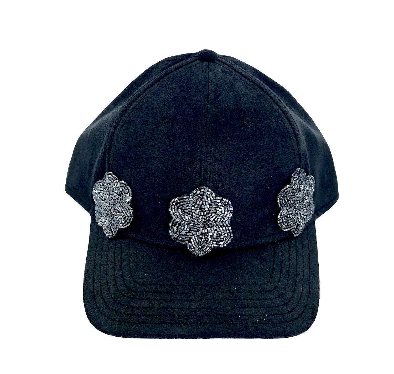 cace90443 Amazon.com: Women Black Suede Trucker Hat with Swarovski Crystal ...