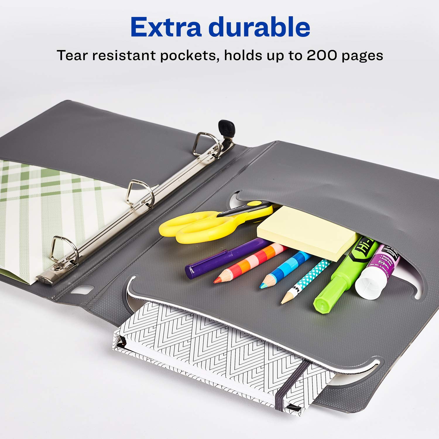 One Touch Slant Ring 79744 1 White Binder Holds 8.5 x 11 Paper Avery 1 Ultralast 3 Ring Binder