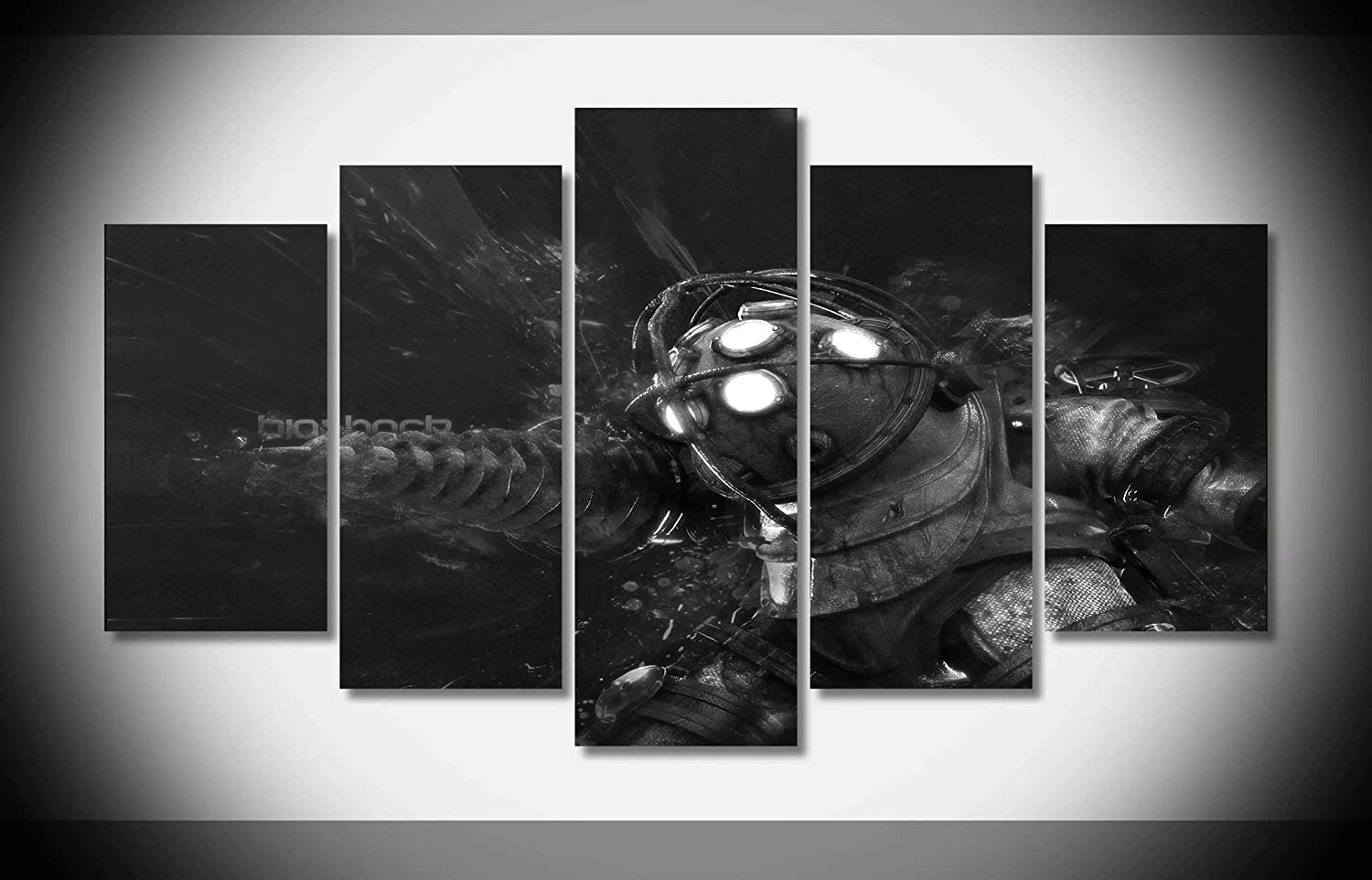 Canvastyle 5pcs bioshock big daddy artwork stretched and framed