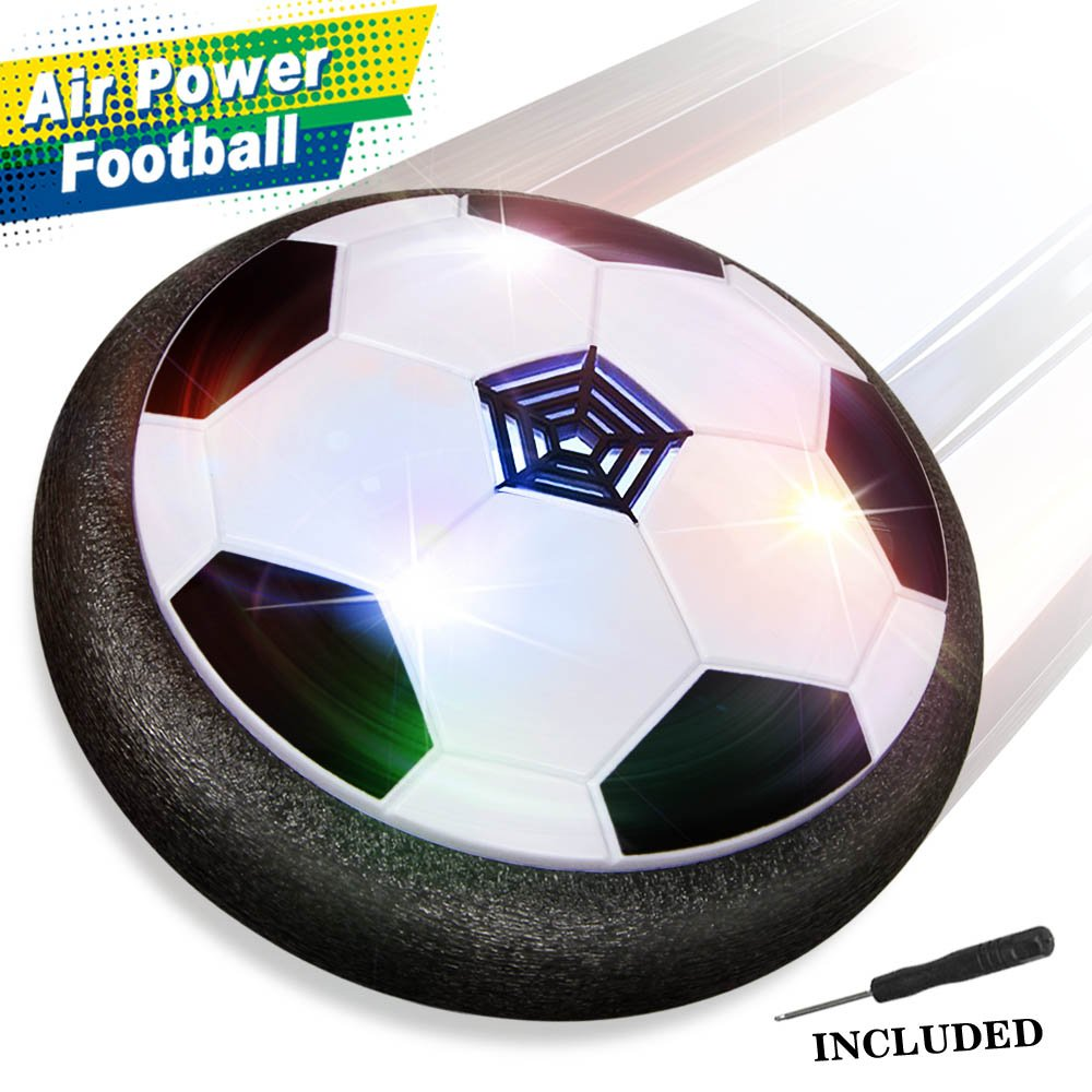 26fdd47d41f Baztoy JT811 Kids Toys Air Power Soccer Ball Games with Soft Foam Bumpers  and Colorful LED Lights - Black  Amazon.co.uk  Toys   Games