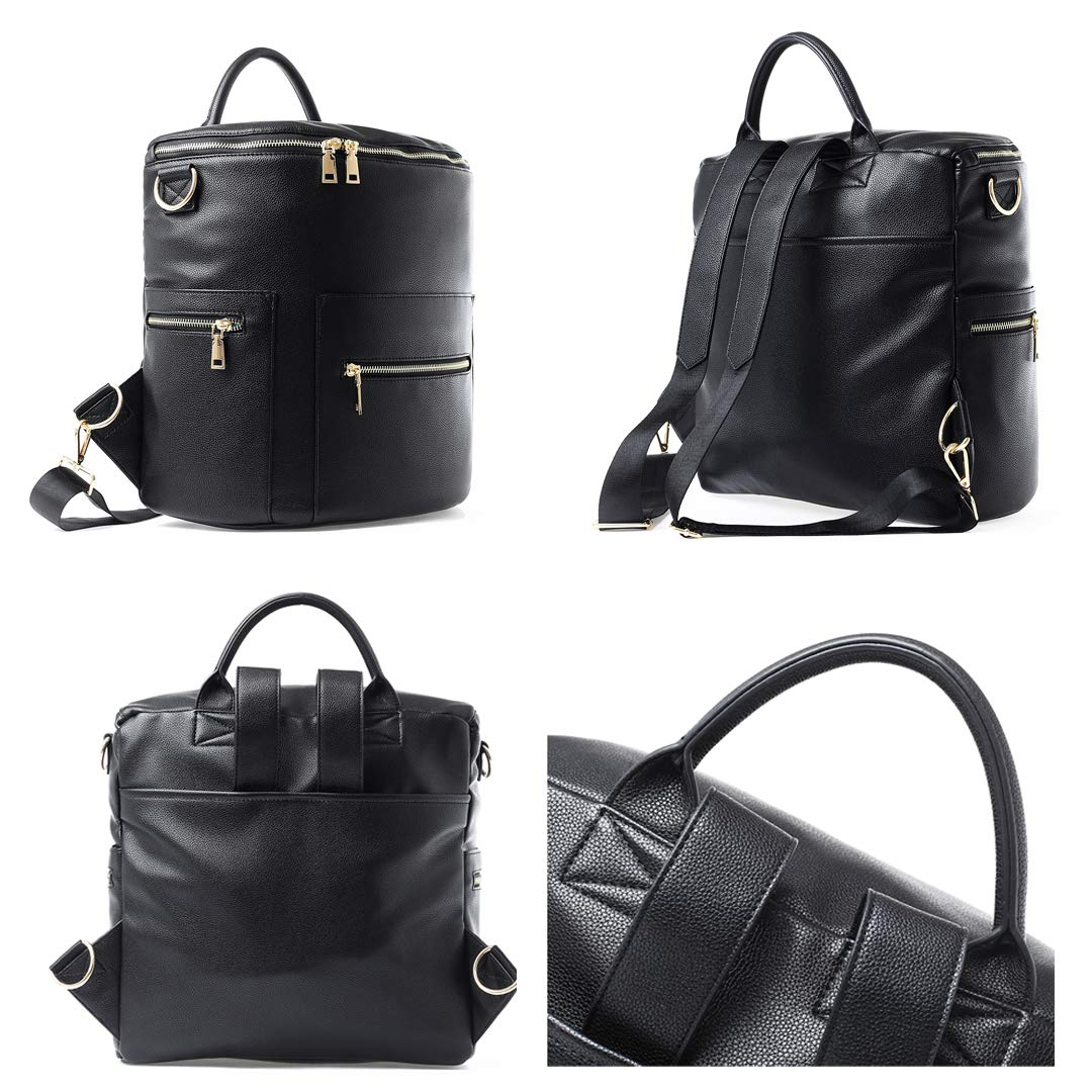 2122fb10c0662 Amazon.com : Alice Unique Vegan Leather Diaper Bag Backpack with Changing  Pad, Large Storage Capacity, 13 Pockets Organizer Bag for Mother of 2 Kids ( Black) ...