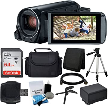 Canon VIXIA HF R800 Camcorder (Black) + SanDisk 64GB Memory Card + Digital Camera/Video Case + Extra Battery BP-727 + Quality Tripod + Card Reader + ...