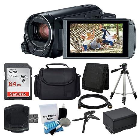Canon VIXIA HF R800 Camcorder (Black) + SanDisk 64GB Memory Card + Digital  Camera/Video Case + Extra Battery BP-727 + Quality Tripod + Card Reader +