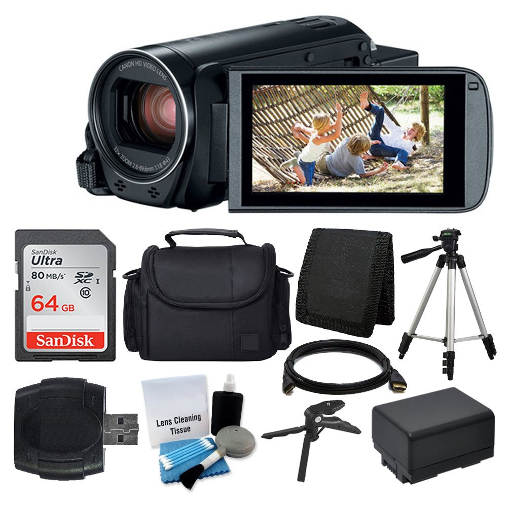 Canon VIXIA HF R800 Camcorder (Black) + SanDisk 64GB Memory Card + Digital Camera/Video Case + Extra Battery BP-727 + Quality Tripod + Card Reader + Tabletop Tripod/Handgrip + Deluxe Accessory Bundle by PHOTO4LESS