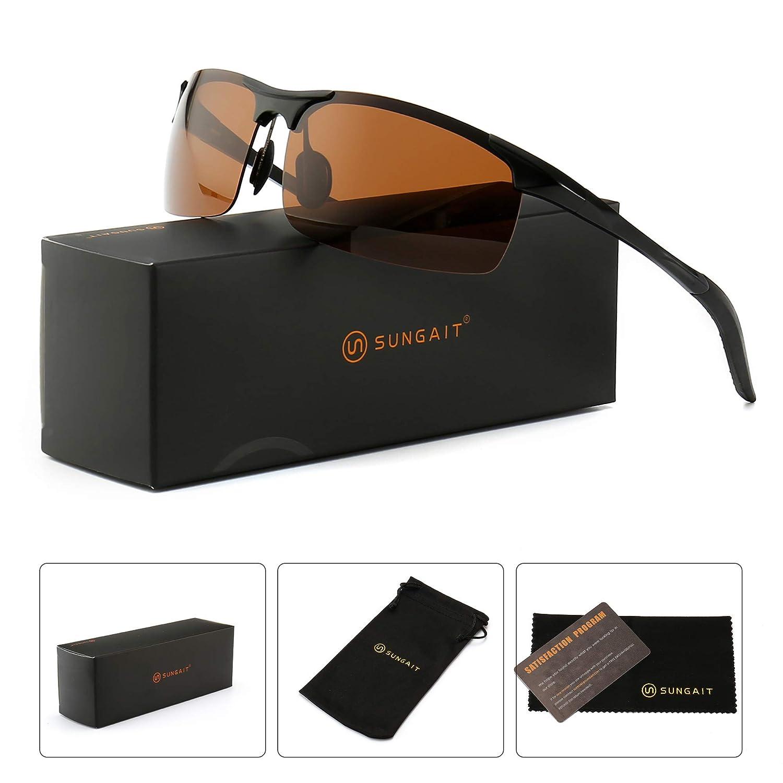 aea2585875 Amazon.com  SUNGAIT Men s HD Polarized Sunglasses for Driving Fishing  Cycling Running Metal Frame UV400 (Black Frame Brown Lens) 8177HKC  Clothing