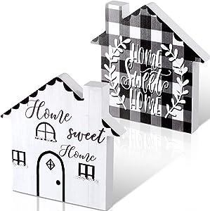 Home Sweet Home Sign Wood House Shaped Block Buffalo Plaid Wood Tabletop Decor Double-Sided House Shaped Wooden Sign Rustic House-Shaped Wood Table Sign for Shelf Table Home Decor, 7.9 x 7.9 Inch