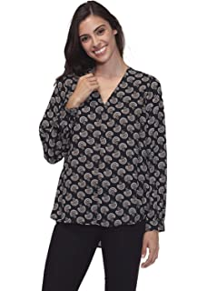 924eb76d4 Pleione Bell-Sleeve Mock Neck Hi-lo Tunic Shirt Blouse at Amazon ...