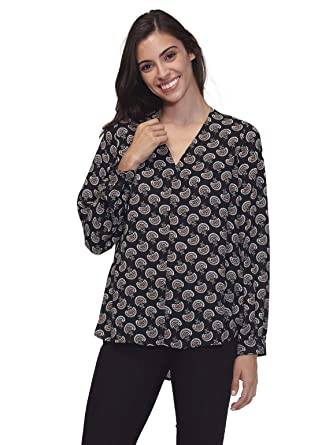 376dc479dae59 Pleione Solid Chiffon Long Sleeve Blouse in Round Neck at Amazon ...