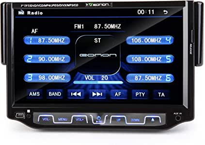 Eonon D1205 7'' Single 1 DIN Digital Screen in Dash Car DVD Stereo Player Radio, Detach Front Panel, Built in Bluetooth Mp3 & Phone Call, Support USB & Sd
