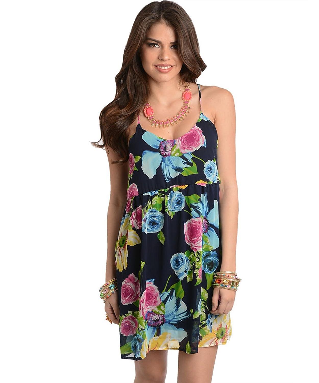 Kurzes Sommerkleid / Frühlingskleid / Minikleid mit Blumenmuster marine blau, grün, rosa, schwarz