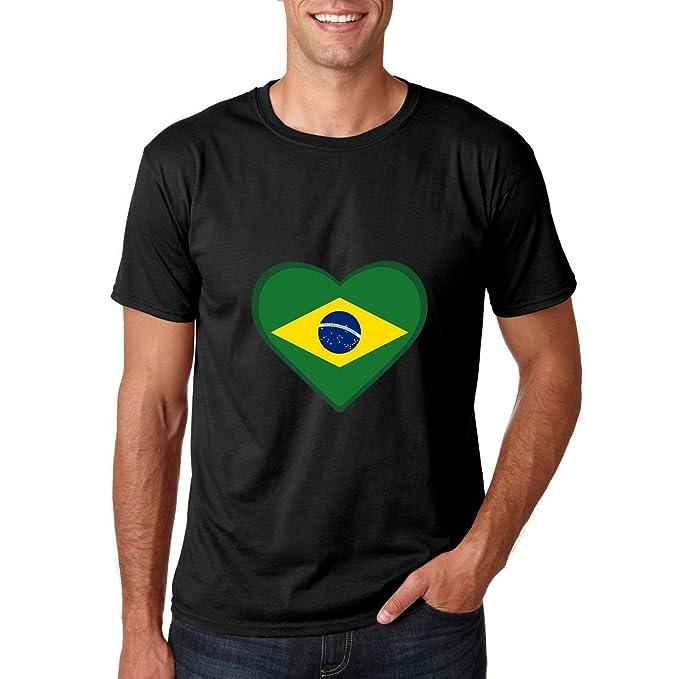 AW Fashions Brazil Heart - Love for Brazil Premium Mens T-Shirt (Small,
