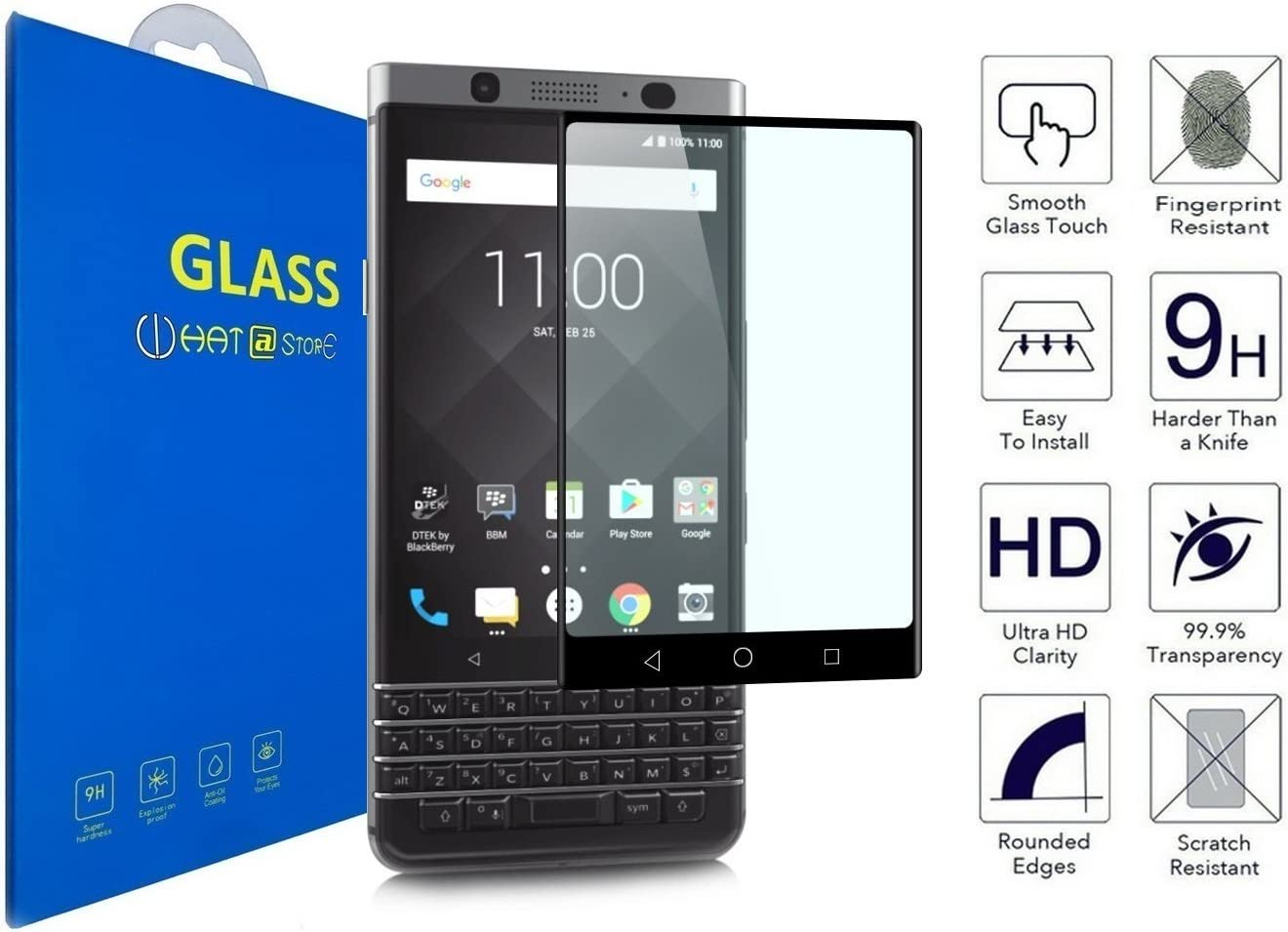 BlackBerry KeyOne - Curvo 3D Cristal Templado Protector de ...