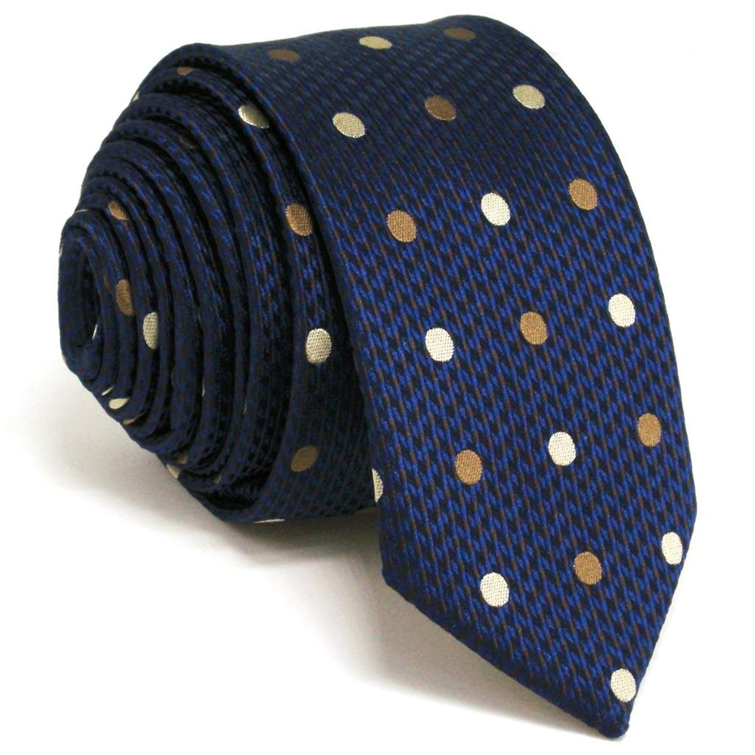 Shlax& Wing Mens Slim Neckties Skinny Tie Dots Blue Business Silk 2.36 PZ24
