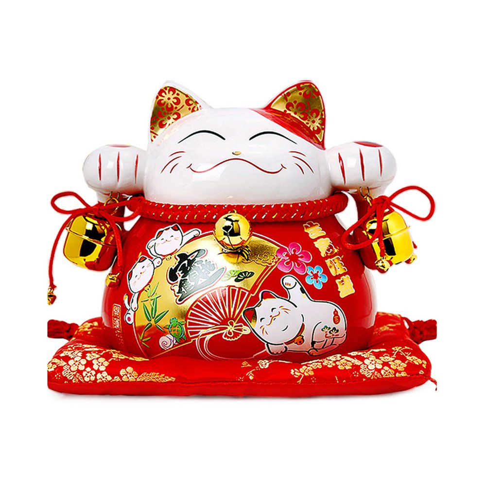 Large Size Ceramic Thriving Business Maneki Neko Lucky Cat(Beckoning Cat) with Bells Piggy Bank,Best Gift for Business Opening,Feng Shui Decor Attract Wealth and Good Luck