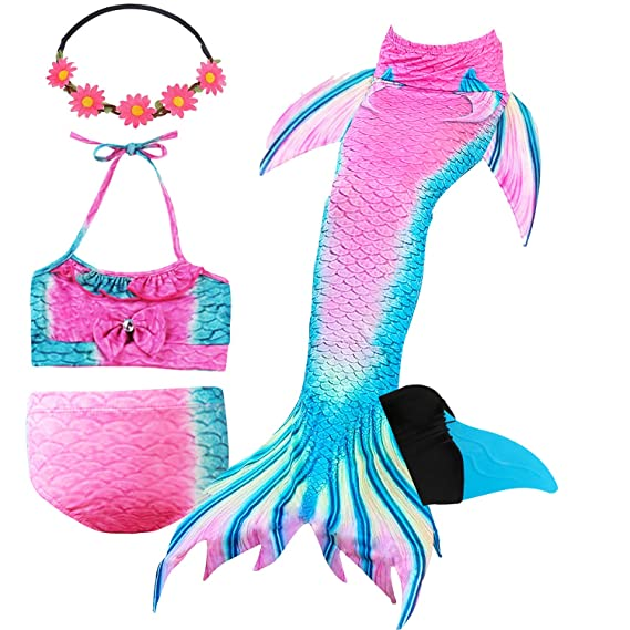 190ff21e484c0 GALLDEALS Mermaid Tails for Swimming with Monofin for Girls Kids, Mermaid  Tail Swimwear Bathing Suit Bikini Set, Mermaid Tail Kids Swimmable Set: ...