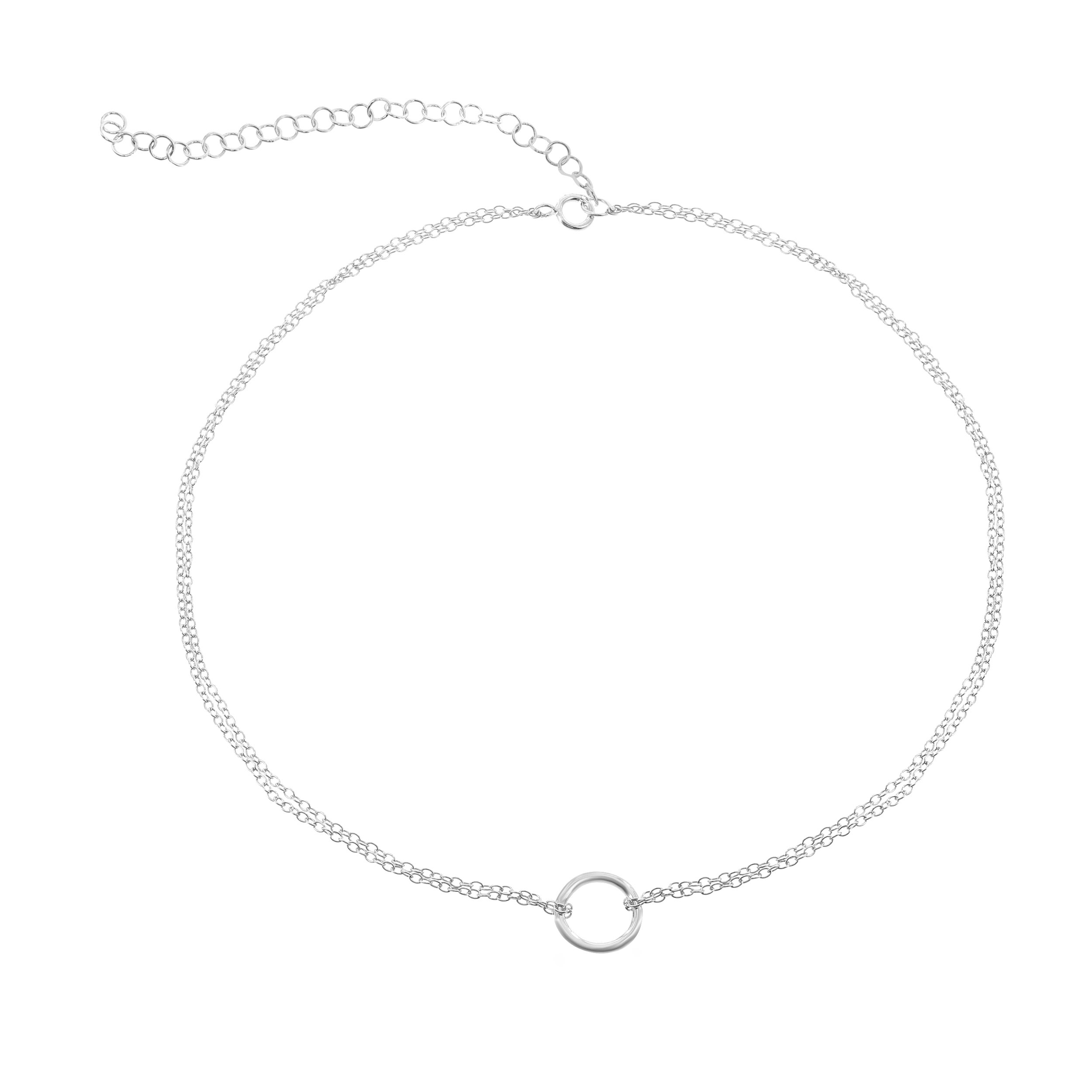 Beaux Bijoux 925 Sterling Silver Italian Adjustable 12''-15'' Center Circle Of Life Dainty Choker Necklace