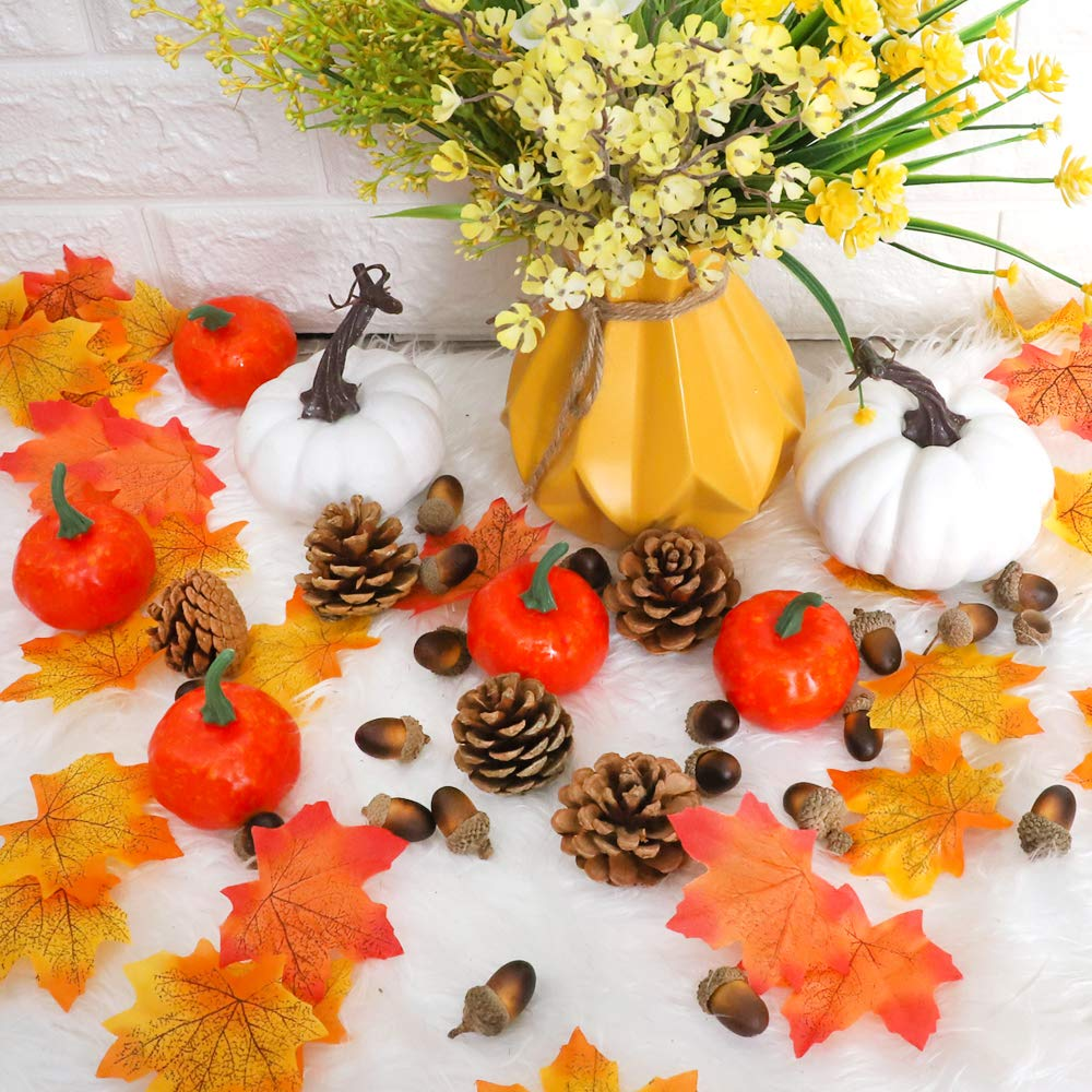 AGEOMET 160pcs Artificial Acorns and Pinecones Ornament Set for Crafting Autumn Party Hanging D/écor House Wedding