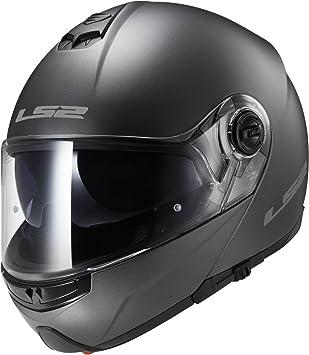 LS2FF325- Casco modular para motocicleta, con doble visera, cierre de