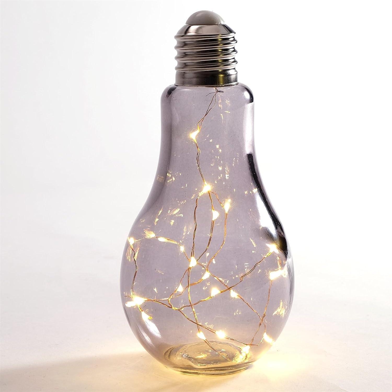 Glühbirne Deko deko steh leuchte glas 19 led rauchgrau stehle