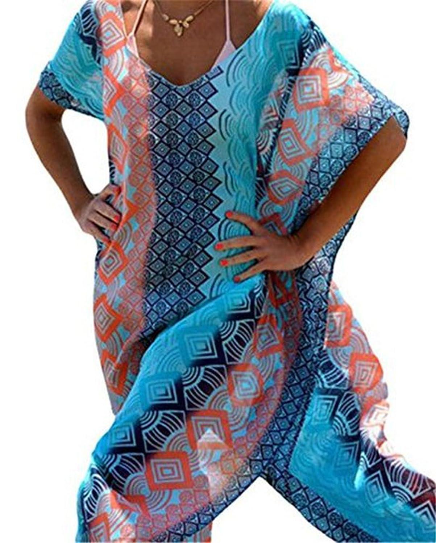 AIYUE Damen Türkischer Stil Chiffon Strandkleid