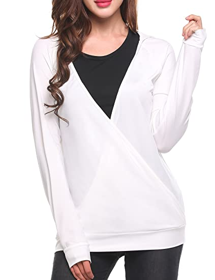 2997b4e42d110 SoTeer Women Long Sleeve Wrap Front Deep V-Neck Tops at Amazon ...