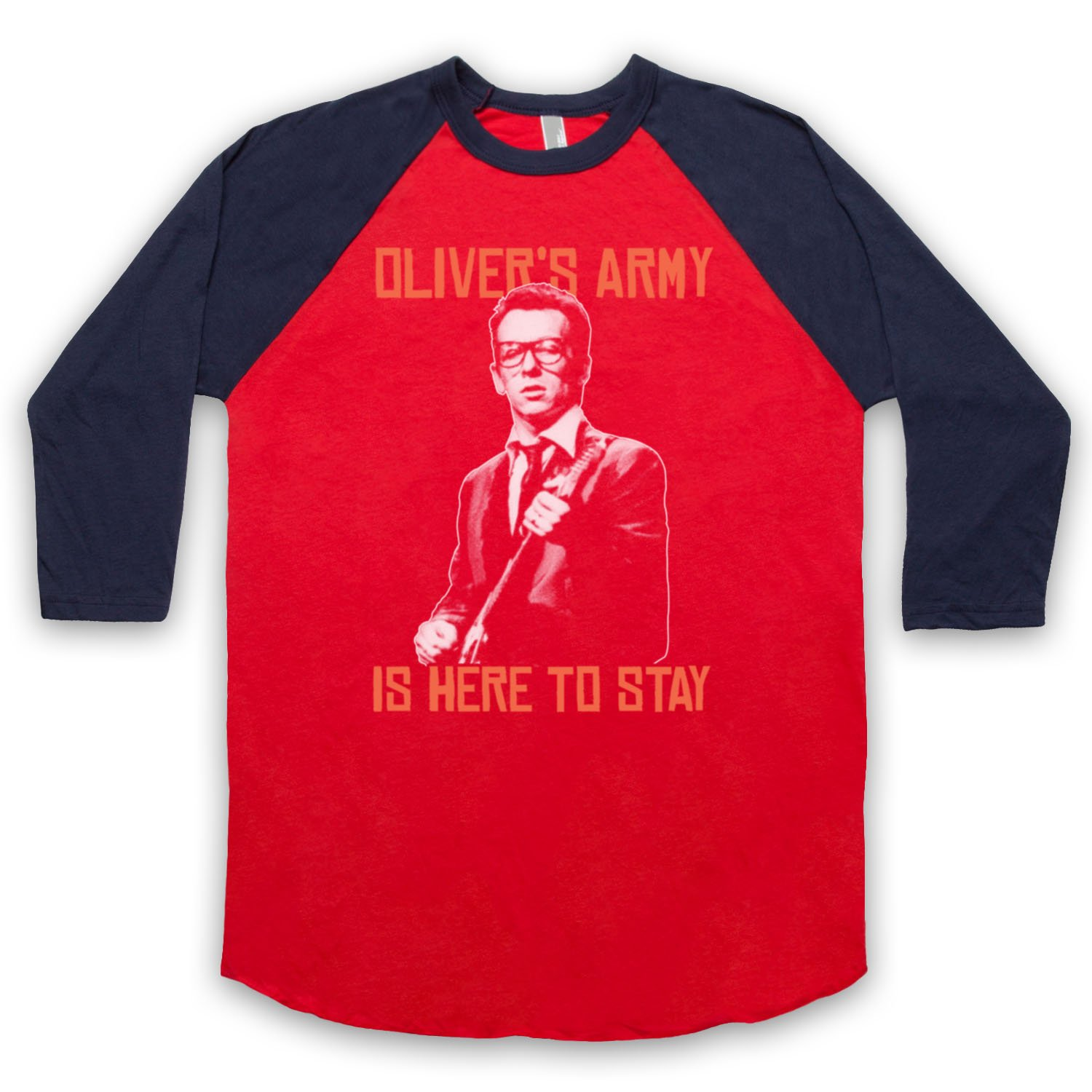 Inspired by Elvis Costello Oliver's Army Unofficial 3/4 Sleeve Retro Baseball Tee